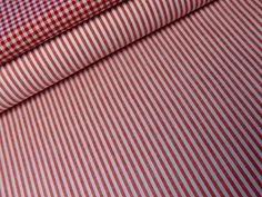 Baumwolle, Streifen rot, durchgewebt 0,5 m Ebay, Stripes, Red, Cotton