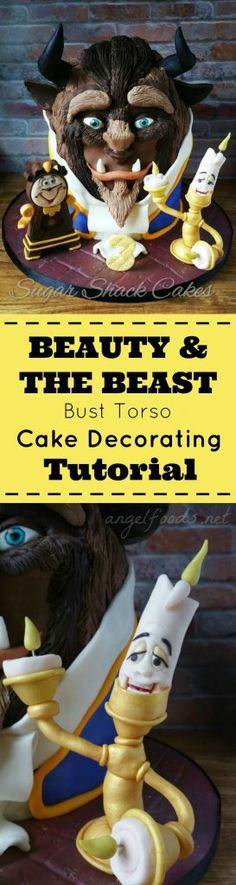 The Beast (3D Sculptured Bust Torso) Cake Decorating Tutorial | The Beauty & The Beast movie is popular right now, and this cake decorating tutorial instructions show how to make a 3D sculptured bust or toros of the beast.