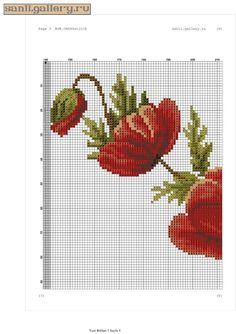 Gallery.ru / Фото #3 - gelincik.0120 - sanli Cross Stitch Flowers, Cross Stitch Patterns, Crochet Patterns, Large Tablecloths, 13 Tattoos, C2c Crochet, Prayer Rug, Poppies, Free Pattern