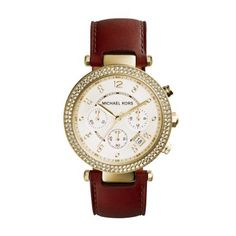 2fd9d3fde4a Michael Kors Women s Parker Gold-Tone Watch - The round case with clear  stones on the top ring is a