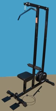 "Family Lat/row Machine (Black) by NYB. Smooth Sealed Ball Bearing Pulleys 2"" X 2"" Heavy Gauge Sq. Steel Tube Construction Deluxe Stitched Seat Non Slippery Heavy Duty End Caps Heavy Duty Coated Cable Adjustable Knee Holder Designed for Standard Plates, Sleeves can be added for Olympic Plates Size: 24.5"" X 47"" X 81-1/2""H - 85 lbs."