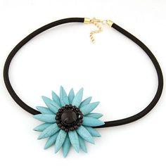 2015 fashion bohemian necklace women Turquoise choker sunflower pendant rope chain necklace wholesale jewelry