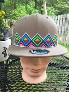 One Of A Kind Tan Diamond Snap Back Hat, Disco Biscuits, Phish, Bassnectar  | eBay
