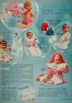 1966 color print ad for Tiny Tears, Teeny Tiny Tears, Teenie Weenie , Dy-Dee Baby and Miss Peep vinyl dolls #Baby #dolls