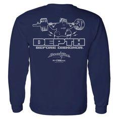 c9e14717728 Depth Before Dishonor Squatting Squatting Bear Long Sleeve Gym T Shirt Navy  Blue Powerlifting Shirts,