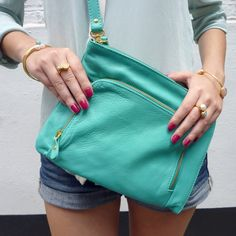Fashion - Turquoise Cross Body Bag mixed with Gold and Pastel Jewellery