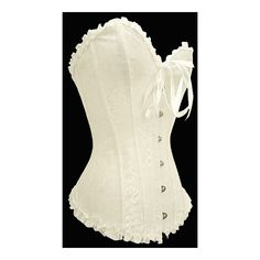 White Corset Gothic Plus Size Steam Punk Burlesque Fancy Dress Bustier... ($39) ❤ liked on Polyvore featuring intimates, lingerie, black, women's clothing, black lace bustier, black lace corset, bridal lingerie, corset bustier and steampunk corset