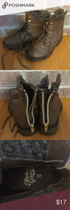 Girls brown faux Leather lace up boots Please feel free to ask any questions or make an offer, and as always THANK YOU for shopping my posh closet! Xoxo -Tish Faded Glory Shoes Boots