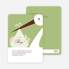 Stork Baby Shower Invitations from Paper Culture