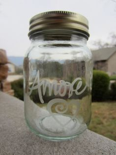 LOVE AMORE Etched Mason Jar Valentines Day by EtchedExpressions, $6.00