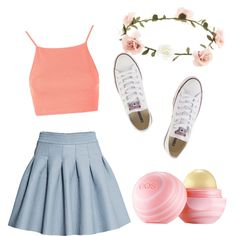 In summer! ? by wilma-tollerup on Polyvore featuring polyvore fashion style Topshop H&M Converse Accessorize Eos