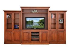 Buckingham Entertainment Center with Optional Side Bookcases The Buckingham is living room royalty. Add side bookcases to this impressive entertainment center for optimal storage. Beautiful for library, den, living room or family room. #entertainmentcenter #livingroom