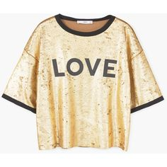 Metallic T-Shirt ($37) ❤ liked on Polyvore featuring tops, t-shirts, pattern tees, velvet top, mango t shirt, print tees and short sleeve tee