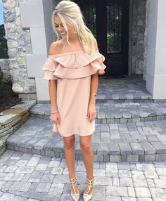 Blush pink off the shoulder dress. Love this flirty look! Date night for sure!