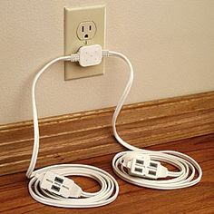 Double Extension Cord With Flat Wall Plug, For Behind Bed, Sofa, Buffet.