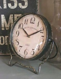 Aged Worn Old Metal Clock. Industrial Chic, Vintage Industrial, Objets Antiques, Tick Tock Clock, Antique Clocks, Vintage Clocks, Rustic Clocks, Farmhouse Clocks, Father Time