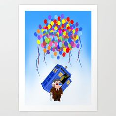 Cute Old 10th doctor who with flaying tardis ART PRINT #artprint #artdesign #digitalart #digital #painting #watercolor #ink #illustration #drawing #digital #inkpen #coloredpencil #popart #comic #illustration #up #tardisdoctorwho #tardis #doctorwho #doctorwho #baloons #davidtennant #phonebooth #phonebox #sciencefictions