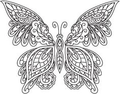 Traditional Indian henna body decoration has inspired this intricate butterfly design. Downloads as a PDF. Use pattern transfer paper to trace design for hand-stitching.