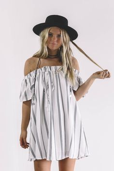 In Your Eyes Navy Striped Off the Shoulder Dress - Amazing Lace