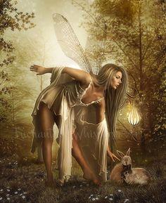 Fantasy Fairy artwork/Fairy and bunny by EnchantedWhispersArt