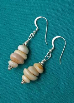 Sterling Silver Puka Shell Dangle Earrings by Alda St. James at Maui Hands