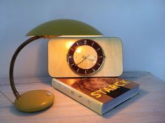 Vintage lamp bureaulamp desk lamp klok vintage clock