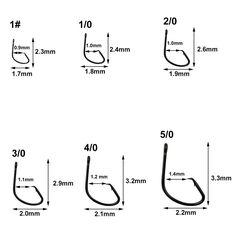 300pcs 7381 High Carbon Steel Black Offset Hook Sport Circle fishing hook 1#-5//0
