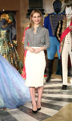 Lily James's Altuzarra pencil skirt and blouse. See 7 other celebrities whose early spring outfits killed it.