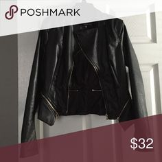 Faux leather jacket Great condition. Black jacket with gold zippers. Jackets & Coats