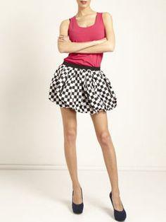 Multicolor Cotton Checkered/Plaid Casual Mini Skirt