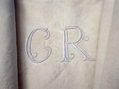 LARGE VINTAGE FRENCH LINEN SHEET MONOGRAM CR | eBay