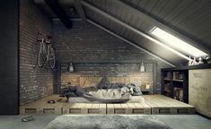 Спальня в цветах: серый, светло-серый, белый, коричневый, бежевый. Спальня в стиле лофт.