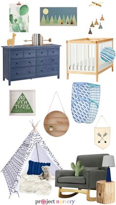 Southwestern-Inspired Nursery Design Board - from arrows and teepees, to cactus and fun adventure decor, this nursery is seriously cool!