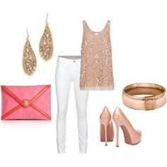 A nice gold, bronce & soft pink outfit for a marvellous girls night out!