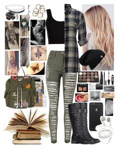 """""""Back To School"""" by i-am-the-one-and-only ❤ liked on Polyvore featuring Calvin Klein Collection, Denim & Supply by Ralph Lauren, Givenchy, Maybelline, NARS Cosmetics, Five Star, Brika, BIC and Topshop"""