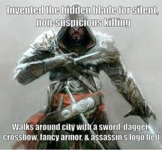 More Assassin's Creed logic...but Ezio didn't invent the hidden blade, lol. :) I assume it's talking about assassins as a whole.