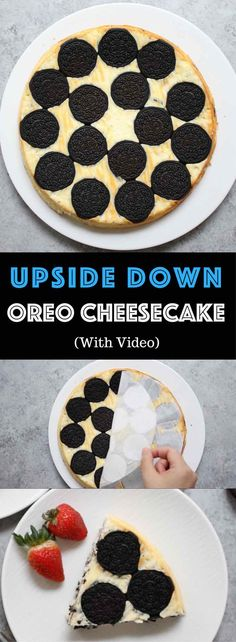Upside Down Oreo Cheesecake – So delicious and super easy to make with only 6 simple ingredients: oreo, cream cheese, sugar, yogurt, eggs, vanilla. There are yummy oreos at the bottom. The perfect quick and easy dessert recipe. Video recipe. | tipbuzz.com