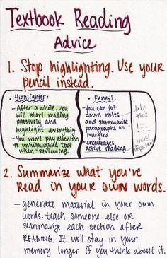 Textbook Reading Advice- Good tips!!