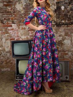 Choies Limited Edition Rose Fishtail Long Sleeves Maxi Dress