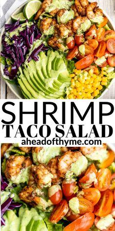 Winter Salad, Spring Salad, Summer Salads, Blt Chopped Salads, Seasoned Shrimp, Taco Salad Bowls, Thanksgiving Salad, Salad Recipes, Healthy Recipes