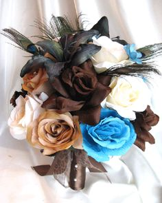 brown and turquoise wedding | Details about Wedding Bouquet Bridal Silk flowers BROWN TURQUOISE ...