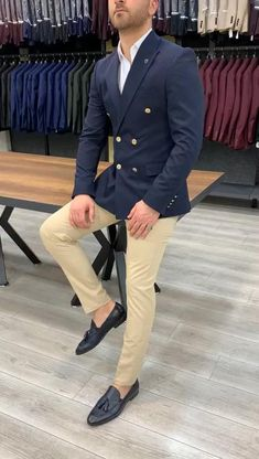 Blazer Outfits Men, Stylish Mens Outfits, Men Blazer, Mens Blazer Styles, Collared Shirt Dress, Collar Dress, Dress Shirt, Terno Slim Fit, Dress Suits For Men