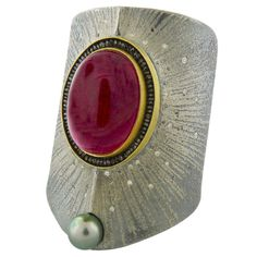 Peter Schmid from Aaron Farber Gallery -   Tourmaline Diamond Cuff Bracelet