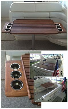 Teak Table with Retractable Cup Holders Pontoon Boat Party, Best Pontoon Boats, Boat Building Plans, Boat Plans, Boat Design, Yacht Design, Pontoon Boat Furniture, Sailboat Restoration, Boat Cup Holders