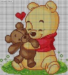Winnie the phoo Graph Crochet, Pixel Crochet, Cross Stitching, Cross Stitch Embroidery, Embroidery Patterns, Cross Stitch Baby, Cross Stitch Animals, Disney Cross Stitch Patterns, Cross Stitch Designs