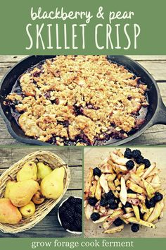 Get the most of out of your fall pear harvest with this cast iron skillet baked pear and blackberry crisp! It's the perfect fall dessert recipe, and so incredibly easy to make. Fall Dessert Recipes, Summer Recipes, Delicious Desserts, Blackberry Crisp, Baked Pears, Real Food Recipes, Healthy Recipes, Food L, Cast Iron Cooking