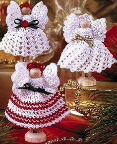 Clothespin and Thread Crochet Angels Pattern 2 ePattern - Leisure Arts Crochet Christmas Ornaments, Christmas Crochet Patterns, Holiday Crochet, Crochet Snowflakes, Angel Ornaments, Christmas Knitting, Christmas Angels, Merry Christmas, Thread Crochet