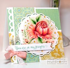 Rose & Chamomile digital stamp set by Power Poppy, card design by Cindy Lawrence.