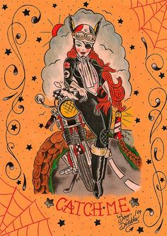 Catch Me- Rocker Girl Triumph Cafe Racer Tattoo Flash Art by bullittmcqueen, via Flickr