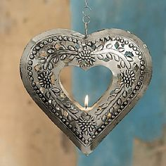 Hanging Heart Tealight Punched metal tealight holder on long chain, recalling the glowing lanterns of Playa del Carmen's street stalls. Heart In Nature, I Love Heart, With All My Heart, Happy Heart, Heart Art, Heart Ring, Funny Valentine, Be My Valentine, Hanging Hearts